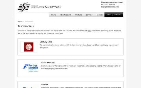 Screenshot of Testimonials Page sealantentp.com - Testimonials | Sealant Enterprises - captured Oct. 4, 2014