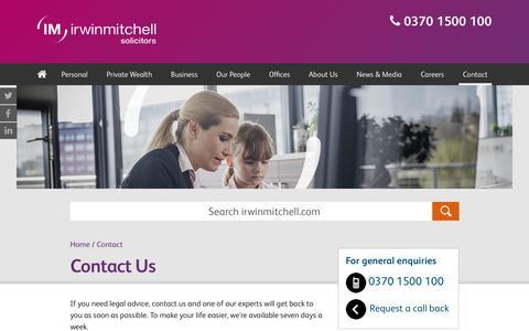 Screenshot of Contact Page irwinmitchell.com - Contact us | Irwin Mitchell - captured Jan. 3, 2018