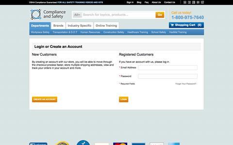 Screenshot of Login Page complianceandsafety.com - Customer Login - captured Sept. 19, 2014