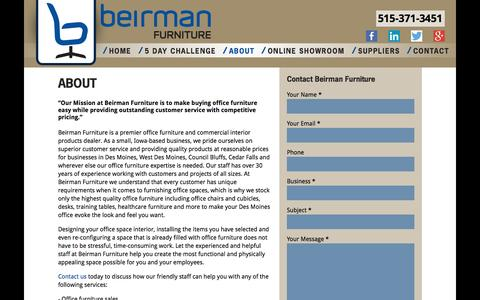 Screenshot of About Page beirmanfurniture.com - Iowa Office Furniture - Beirman Furniture Supplier Iowa City - captured Sept. 30, 2014