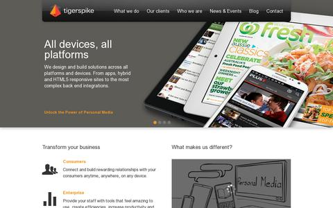 Screenshot of Home Page tigerspike.com - Home / Tigerspike - Unlock the Power of Personal Media - captured July 17, 2014