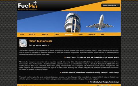 Screenshot of Testimonials Page fuelplus.com - Testimonials - FuelPlus Airline Fuel Management - captured Oct. 6, 2014