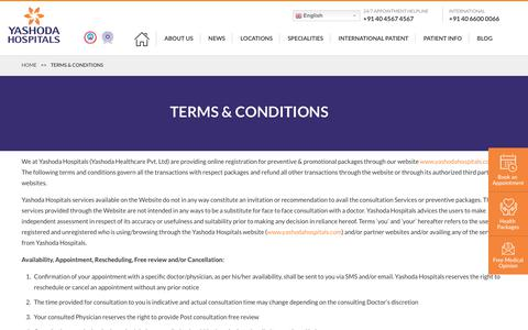 Screenshot of Terms Page yashodahospitals.com - Terms & Conditions - captured Jan. 13, 2020