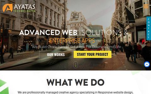 Screenshot of Home Page ayatas.com - Professional Web Design Company - Ayatas Technologies - captured Aug. 7, 2018