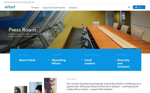 Screenshot of Press Page intuit.com - Press Room - Intuit - captured Jan. 24, 2018