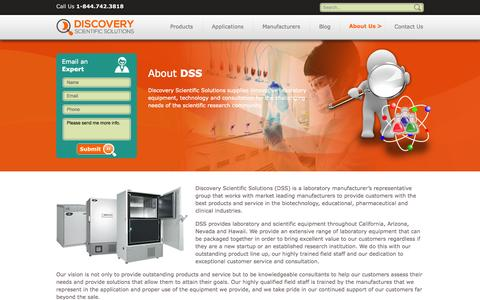 Screenshot of About Page discsci.com - Top Lab Solutions Provider   About Us   Discovery Scientific Solutions - Discovery - captured Oct. 5, 2014