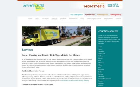 Screenshot of Services Page servicemasterbyrice.com - Commercial and Residential Cleaning Services in Des Moines - captured June 19, 2017