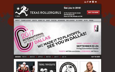 Screenshot of Home Page texasrollergirls.org - Austin Texas Roller Derby | Texas Rollergirls - captured Oct. 9, 2017