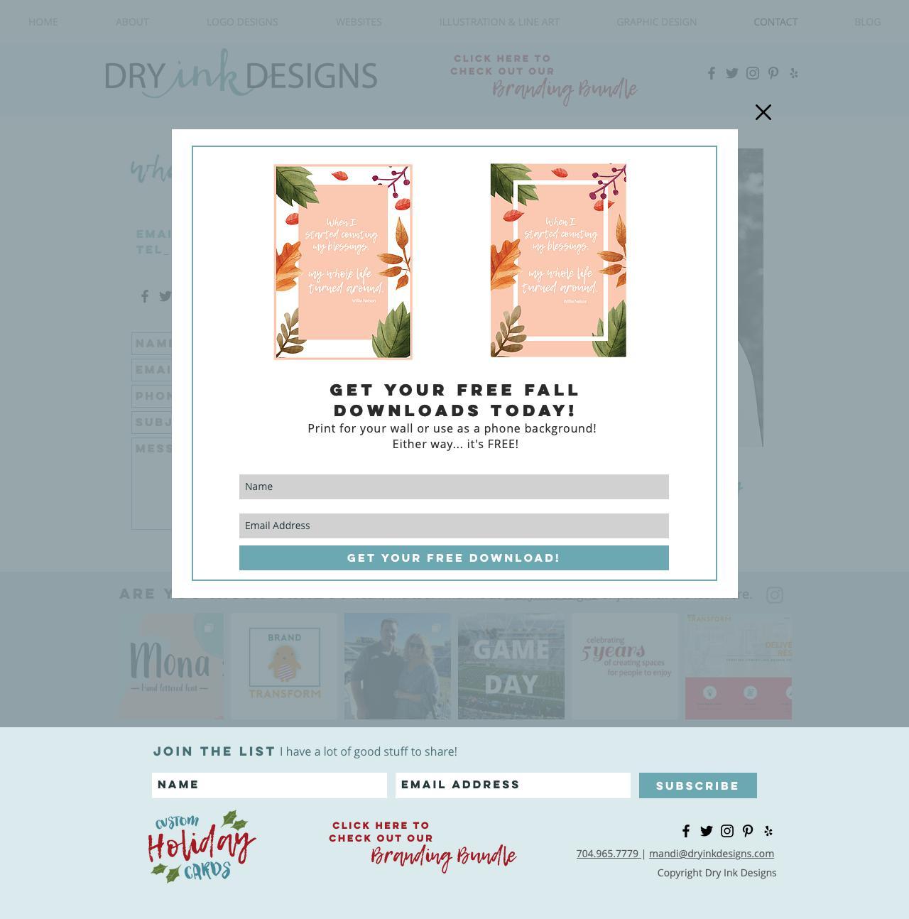 Screenshot of dryinkdesigns.com - Contact | Dry Ink Designs - captured Nov. 6, 2018
