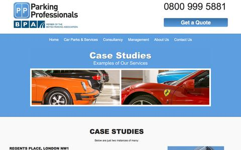 Screenshot of Case Studies Page parking-pros.co.uk - Car parking solutions - Case studies | Parking Professionals - captured July 14, 2017
