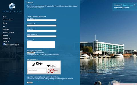 Screenshot of Jobs Page captainsclubhotel.com - Captains Club Hotel - captured Sept. 27, 2014