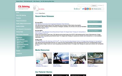 Screenshot of Press Page cslbehring.com - News Room   CSL Behring - captured July 10, 2016