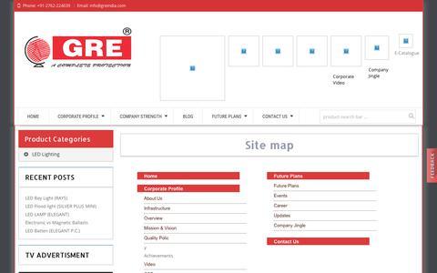 Screenshot of Site Map Page greindia.com - greindia | Site Map - captured Sept. 26, 2018