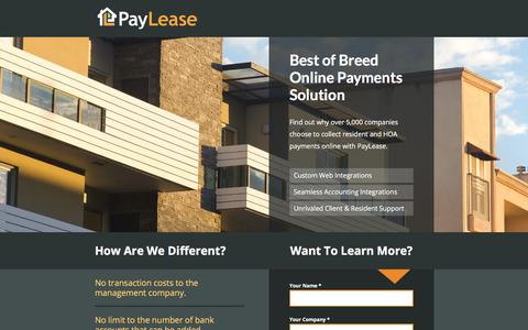Screenshot of Landing Page paylease.com - PayLease | Online Payment Solution - captured March 1, 2018