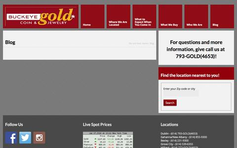 Screenshot of Blog buckeyegoldcompany.com - Sell Gold Jewelry, Gold Coins, Cash for Gold, Sell Jewelry, Sell Old Jewelry, Gold Pricing, Money for Gold, Buy Gold Jewelry Columbus, Ohio - captured Jan. 7, 2016