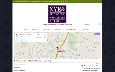 Screenshot of Maps & Directions Page nyeandcompany.com - Directions | Nye & Company - captured Oct. 5, 2014