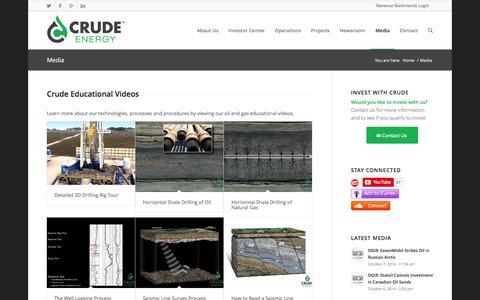Screenshot of Press Page crude.com - Media, Infographics & Educational Videos | Crude Energy - captured Oct. 8, 2014