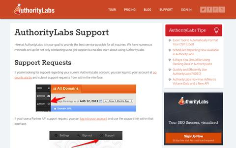 Screenshot of Support Page authoritylabs.com - AuthorityLabs Support & Tutorials - captured Sept. 13, 2014