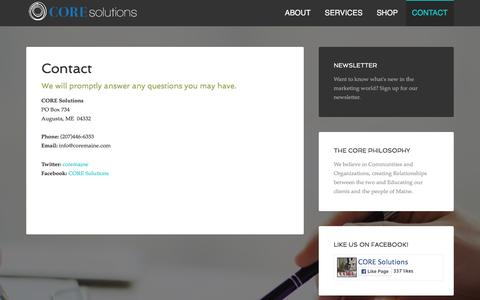 Screenshot of Contact Page coremaine.com - CORE Solutions Maine Contact - captured Jan. 23, 2016