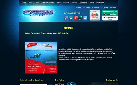 Screenshot of Press Page gozodive.com - News | St. Andrew's Divers Cove - captured Oct. 9, 2018