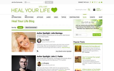 Screenshot of Blog healyourlife.com - Blog Posts and Advice from Authors - HealYourLife.com - captured Jan. 14, 2016
