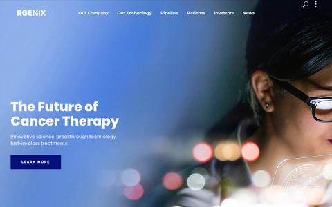Screenshot of Home Page rgenix.com - Rgenix - The Future of Cancer Therapy - captured Nov. 19, 2018