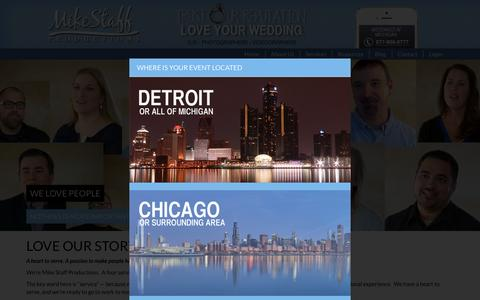 Screenshot of About Page mikestaff.com - About Mike Staff Productions Michigan Wedding Services - captured Feb. 27, 2016