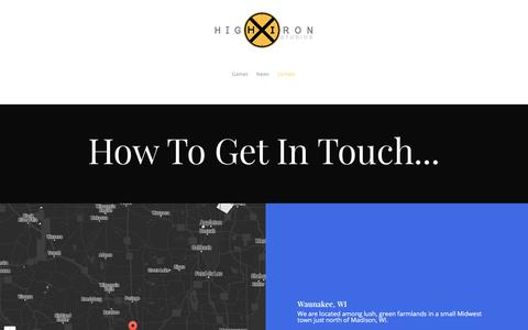 Screenshot of Contact Page highironstudios.com - Contact |  High Iron Studios - captured July 14, 2016