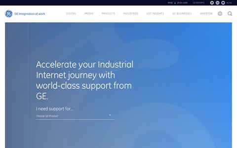 Screenshot of Support Page ge.com - Product & Suite Technical Support | GE Digital - captured June 1, 2016