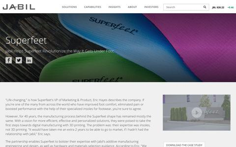Screenshot of Case Studies Page jabil.com - Superfeet Case Study   Jabil - captured July 6, 2018