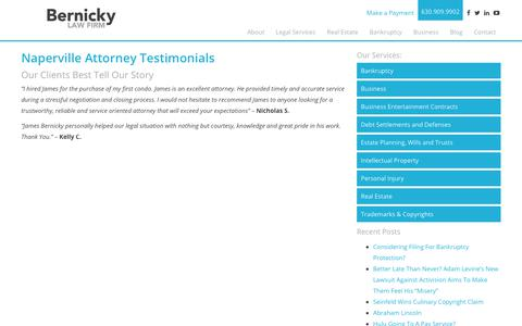 Screenshot of Testimonials Page bernickylaw.com - Testimonials - Bernicky Law Firm - captured July 19, 2017