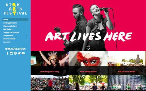 Screenshot of Home Page uaf.org - Utah Arts Festival - Home - captured Jan. 14, 2016