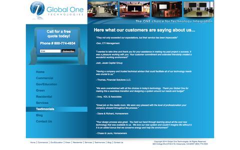 Screenshot of Testimonials Page global1technologies.com - San Diego AV | Premier Audio Visual in San Diego | (800) 774-4934chnologies | (800) 774-4934 - captured Oct. 2, 2014
