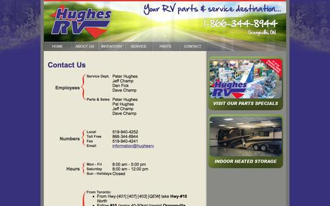 Screenshot of Contact Page Maps & Directions Page hughesrv.com - Contact hughes RV In Orangeville Ontario - captured July 18, 2016