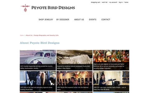 Screenshot of About Page peyotebird.com - About Us   Design Biography and Jewelry Info   Peyote Bird Designs - captured Oct. 2, 2014