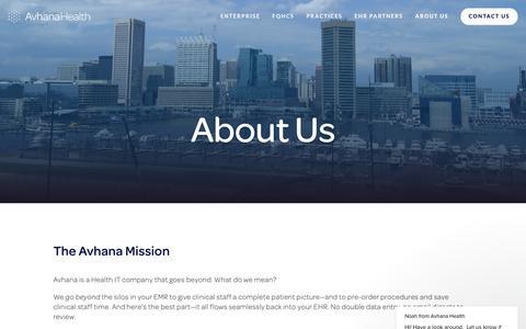 Screenshot of About Page avhana.com - About Us — Avhana Health - captured Oct. 19, 2018