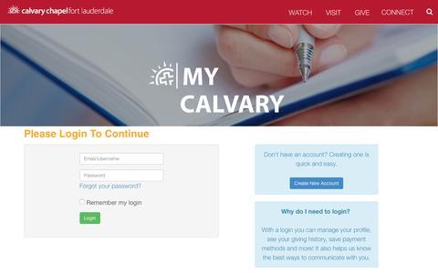 Screenshot of Login Page calvaryftl.org - Login | Calvary Chapel Fort Lauderdale - captured Dec. 20, 2016