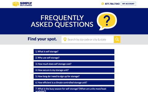 Screenshot of FAQ Page simplyss.com - FAQ   Simply Self Storage - captured Oct. 17, 2018