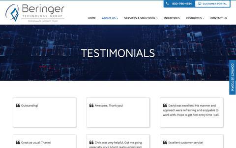 Screenshot of Testimonials Page beringer.net - Testimonials - Cherry Hill, Mount Laurel, Pennsauken | Beringer Technology Group - captured Oct. 10, 2017