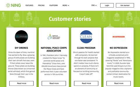 Screenshot of ning.com - Customer stories Archive - Ning.com - captured April 9, 2017
