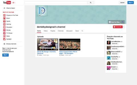 Screenshot of YouTube Page youtube.com - dentalbydesignaz's channel  - YouTube - captured Oct. 27, 2014