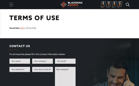 Screenshot of Terms Page blackmanandwhite.com captured Nov. 6, 2018