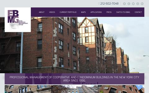 Screenshot of Home Page ebmg.com - New York City Cooperative and Condominium Property Management - captured Oct. 3, 2014