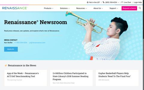 Screenshot of Press Page renaissance.com - Renaissance Newsroom | Press releases, updates, and what's new - captured Dec. 10, 2018