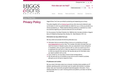 Screenshot of Privacy Page higgsandsons.co.uk - Privacy Policy :: Higgs & Sons - captured Oct. 3, 2014