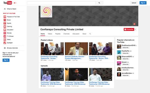 Screenshot of YouTube Page youtube.com - Confianzys Consulting Private Limited  - YouTube - captured Oct. 22, 2014