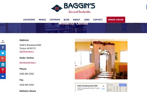 Screenshot of bagginsgourmet.com - Williams Center - Baggin's Gourmet - captured March 20, 2016