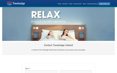 Screenshot of Contact Page travelodge.ie - Contact Us — Travelodge Ireland - captured Sept. 24, 2018