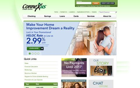 Screenshot of Home Page connexuscu.org - Checking - Savings - Loans | Connexus Credit Union - Wausau, WI - captured Nov. 11, 2016