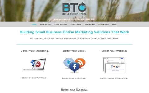 Screenshot of Home Page builttooptimize.com - Built To Optimize - North New Jersey Online Marketing Agency for Small Businesses - captured Sept. 30, 2014